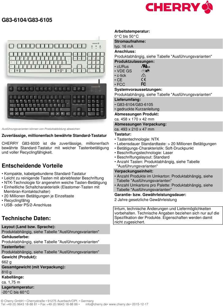 Keyboard Cherry Classic Line G83-6105LUNDE-2