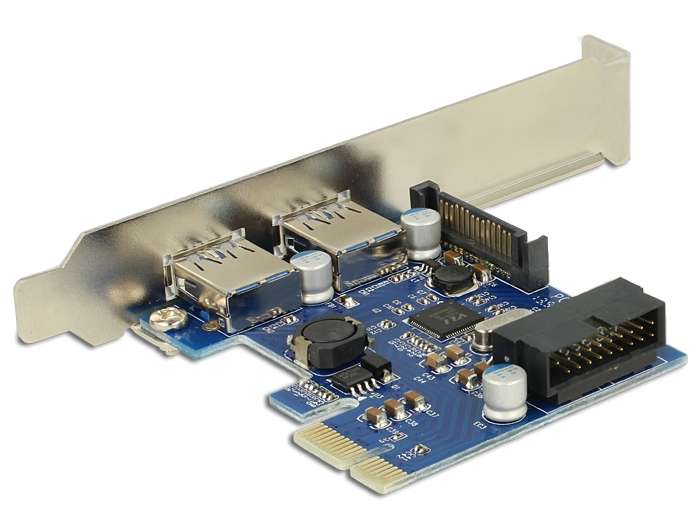 I/O DeLock PCI Express Card 2 x USB 3.0 extern , 1 x USB 3.0 intern