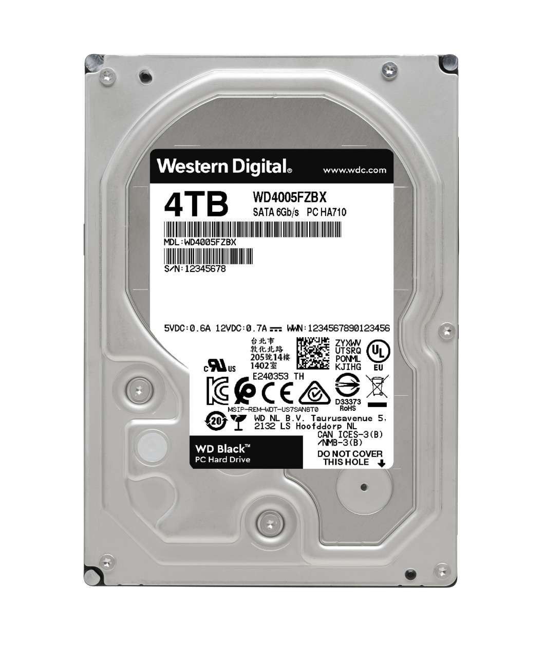 HDD WD Black WD4005FZBX 4TB/8,9/600/72 Sata III 128MB (D)