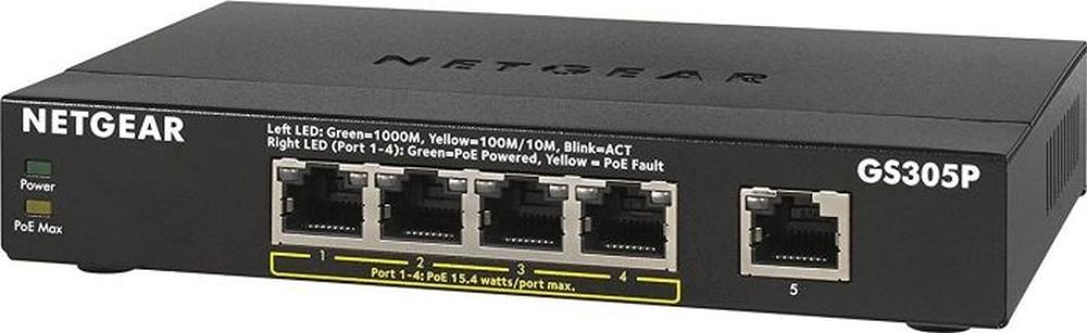 NETGEAR Switch Desktop 5-port 10/100/1000 GS305P-100PES