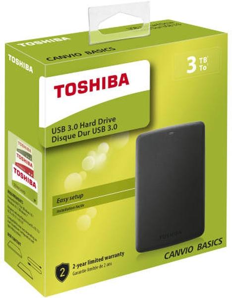 """HDD Extern Toshiba Canvio Basics 2,5"""" 3TB (HDTB330EK3CB) External Hard Drive USB 3.0 schwarz"""