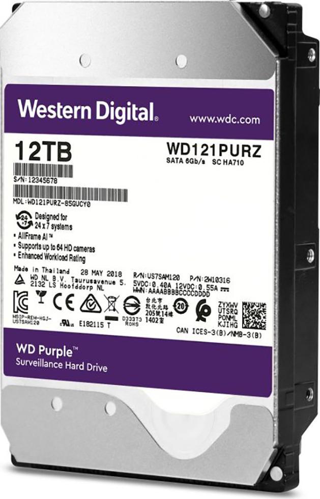 HDD WD Purple WD121PURZ 12TB/8,9/600 Sata III 256MB (D)