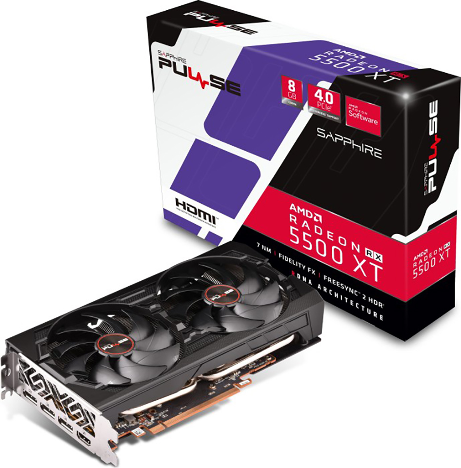 VGA SAPPHIRE PULSE RADEON RX 5500 XT 8G GDDR6 HDMI / TRIPLE DP OC W/BP (UEFI)