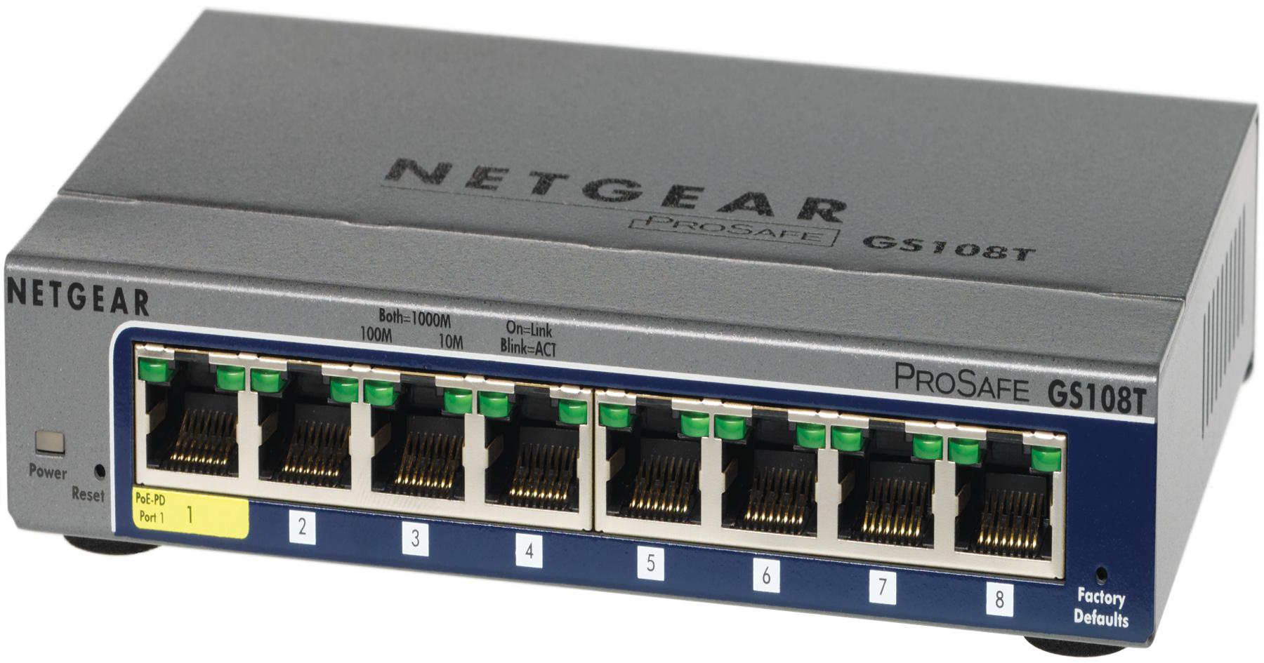 NETGEAR Switch Desktop Gigabit Pro Safe  8-port 10/100/1000 GS108T-200GES